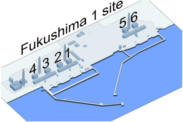 Image: Wiki Commons/Shigeru23 ref: Google Map Satellite Image (Fukushima 1 is Fukushima-Daiichi).